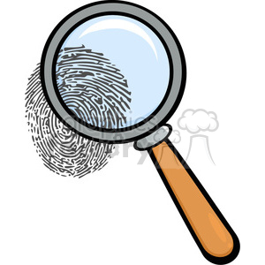 Royalty-Free-RF-Copyright-Safe-Magnifying-Glass-With-Fingerprint clipart. Commercial use image # 384428