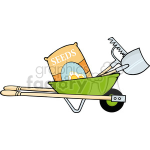Royalty-Free-RF-Copyright-Safe-Green-Barrow-With-Seeds-A-Rake-And-Shovel