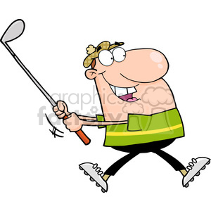 4709-Royalty-Free-RF-Copyright-Safe-Happy-Golfer-Running clipart. Royalty-free image # 384438