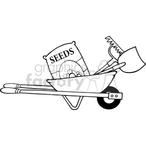 Barrow With Seeds a Rake and Shovel clipart. Commercial use image # 384448