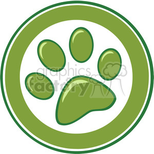 Royalty-Free-RF-Copyright-Safe-Green-Paw-Print-Banner clipart. Royalty-free image # 384453