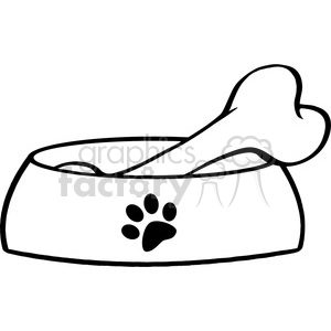 Royalty-Free-RF-Copyright-Safe-Dog-Bowl-With-Big-Bone clipart. Royalty-free image # 384468