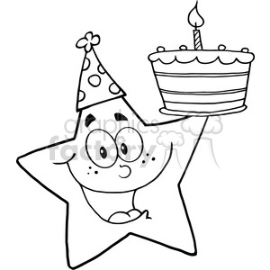 Royalty-Free-RF-Copyright-Safe-Happy-Star-Holding-A-Birthday-Cake clipart. Royalty-free image # 384473