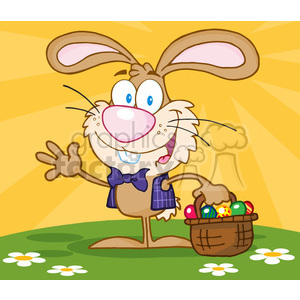 4731-Royalty-Free-RF-Copyright-Safe-Waving-Bunny-With-Easter-Eggs-And-Basket clipart. Royalty-free image # 384483