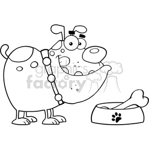 Royalty-Free-RF-Copyright-Safe-Happy-Bulldog-With-Bowl-And-Bone clipart. Commercial use image # 384518