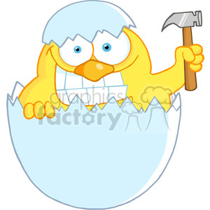 Royalty-Free-RF-Yellow-Chick-With-A-Big-Toothy-Grin-Peeking-Out-Of-An-Egg-Shell-With-Hammer