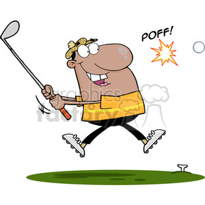 4700-Royalty-Free-RF-Copyright-Safe-African-American-Golfer-Hitting-Golf-Ball clipart. Royalty-free image # 384533