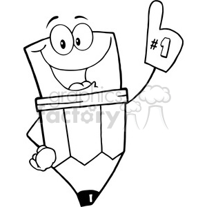 Royalty-Free-RF-Copyright-Safe-Pencil-Guy-Wearing-A-Number-One-Glove clipart. Royalty-free image # 384538
