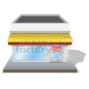 storefront with yellow awning clipart. Commercial use image # 384632