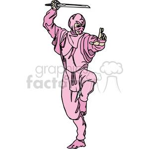 pink ninja clip-art clipart. Royalty-free image # 384692
