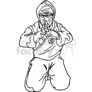 white ninja clip-art 005 clipart. Commercial use image # 384707