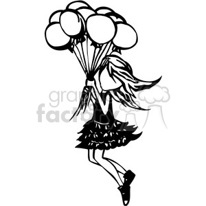 girl floating away with a group of balloons