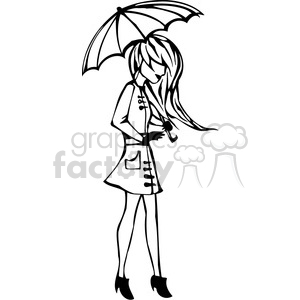 cartoon girls female black white teenager teen teens young women lady girl females woman vinyl-ready rain raining umbrella