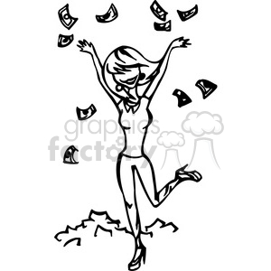 women throwing money in the air clipart. Royalty-free image # 384772