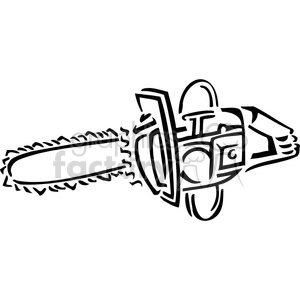 black and white chainsaw clipart. Commercial use image # 384912