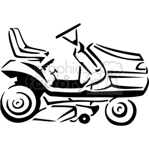 black and white riding lawnmower clipart. Royalty-free image # 385042