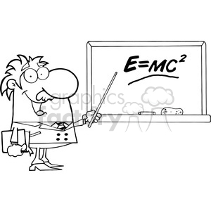 12831 RF Clipart Illustration Professor Pointing To Green Chalk Board With Einstein Formula E=mc2 clipart. Royalty-free image # 385052