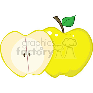 129312 RF Clipart Illustration Whole And Cut Yellow Apple clipart. Commercial use image # 385072