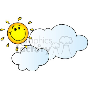 12893 RF Clipart Illustration Smiling Sun Behind Cloud Cartoon Character clipart. Royalty-free image # 385082