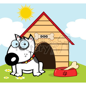 12819 RF Clipart Illustration Smiling Bull Terrier With A Bone In His Dish Outside His Dog House clipart. Royalty-free image # 385102