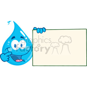 12872 RF Clipart Illustration Happy Water Drop Cartoon Character Holding A Blank Sign clipart. Royalty-free image # 385112