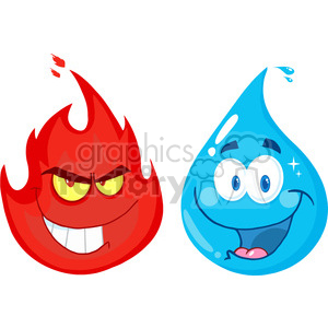 12863 RF Clipart Illustration Flame And Water  Cartoon Characters