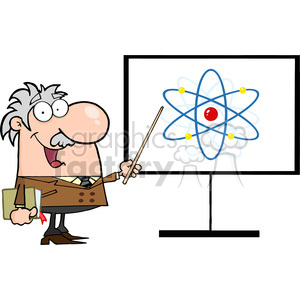 128312 RF Clipart Illustration Professor Pointing To An Atom Sign clipart. Royalty-free image # 385172