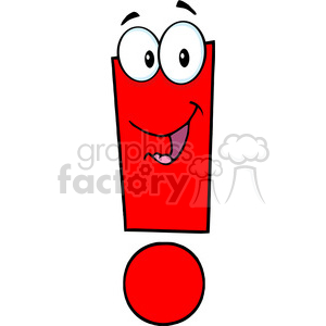 5038 clipart illustration of exclamation mark cartoon character