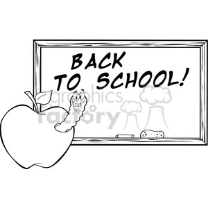 4955-Clipart-Illustration-of-Happy-Student-Worm-In-Apple-In-Front-Of-School-Chalk-Board clipart. Royalty-free image # 385232