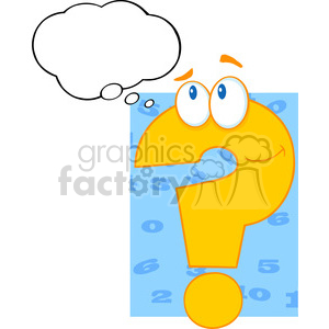 5035-Clipart-Illustration-of-Question-Mark-Cartoon-Character-With-Speech-Bubble clipart. Royalty-free image # 385242