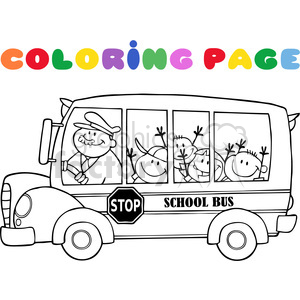 5054-Clipart-Illustration-of-Colornig-Page-School-BusWith-Happy-Children clipart. Royalty-free image # 385272