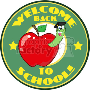 4951-Clipart-Illustration-of-Happy-Student-Worm-In-Red-Apple-And-Sticker-With-Text-Back-to-School clipart. Commercial use image # 385292