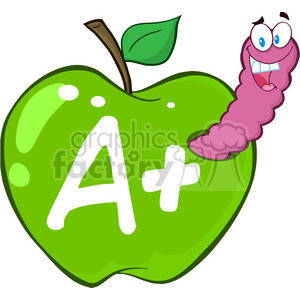 cartoon funny education school learning apple worm A grades character happy green