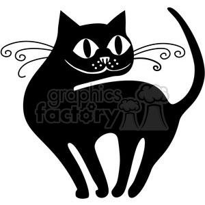 vector clip art illustration of black cat 061