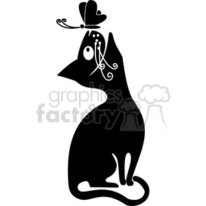 vector clip art illustration of black cat 068