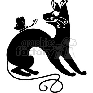 vector clip art illustration of black cat 093 clipart. Commercial use image # 385372