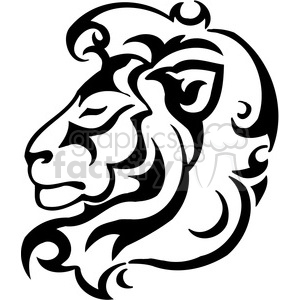 vector black+white animals wild outline vinyl-ready lion cat tattoo logo