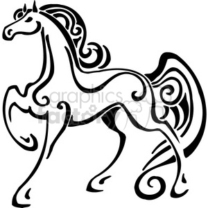 vector black+white animals wild outline vinyl-ready horse tattoo