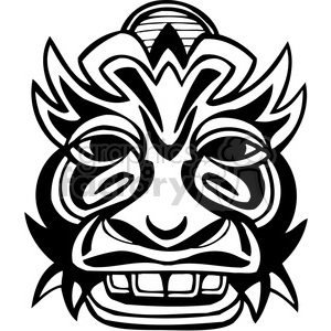 ancient tiki face masks clip art 015