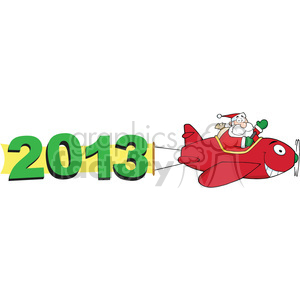 2013 banner pulled by Santa clipart. Royalty-free image # 385985
