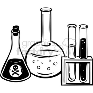 eco environment illustration logo symbols elements earth black+white science chemicals chemistry test+tubes skull poison