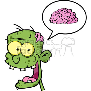 5071-Zombie-Head-Cartoon-Character-And-Speech-Bubble-With-Brain-Royalty-Free-RF-Clipart-Image clipart. Commercial use image # 386336