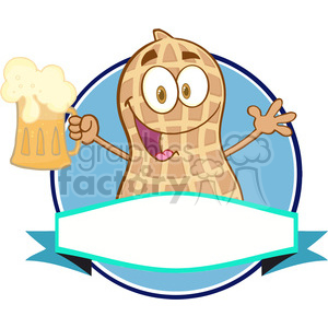 Logo-Of-A-Cartoon-Peanut-Mascot-Character-With-Beer clipart. Royalty-free image # 386472