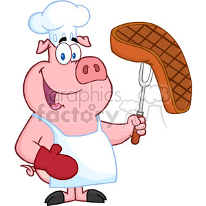 Happy Pig Chef Holding A Fork With Steak clipart. Commercial use image # 386492