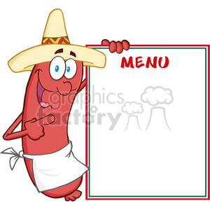 Happy Sausage With Mexican Hat Showing Menu clipart. Royalty-free image # 386512