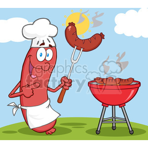 Happy Sausage Chef Cook At Barbecue clipart. Commercial use image # 386522