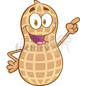 Peanut-Cartoon-Mascot-Character-Holding-A-Finger-Up clipart. Royalty-free image # 386552