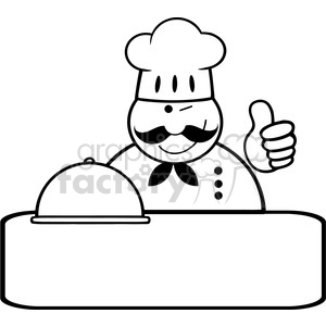Royalty-Free-RF-Clipart-Winked-Chef-Logo-Banner-With-Platter-Showing-Thumbs-Up clipart. Commercial use image # 386562
