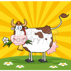 Dairy Cow With Flower In Mouth On A Meadow And Sunburst clipart. Commercial use image # 386602