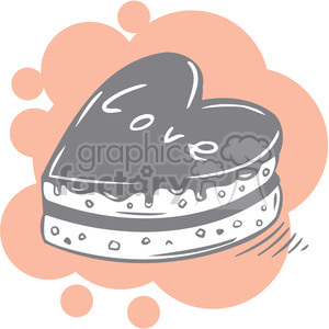 love Valentines hearts cartoon vector cake cakes food snack